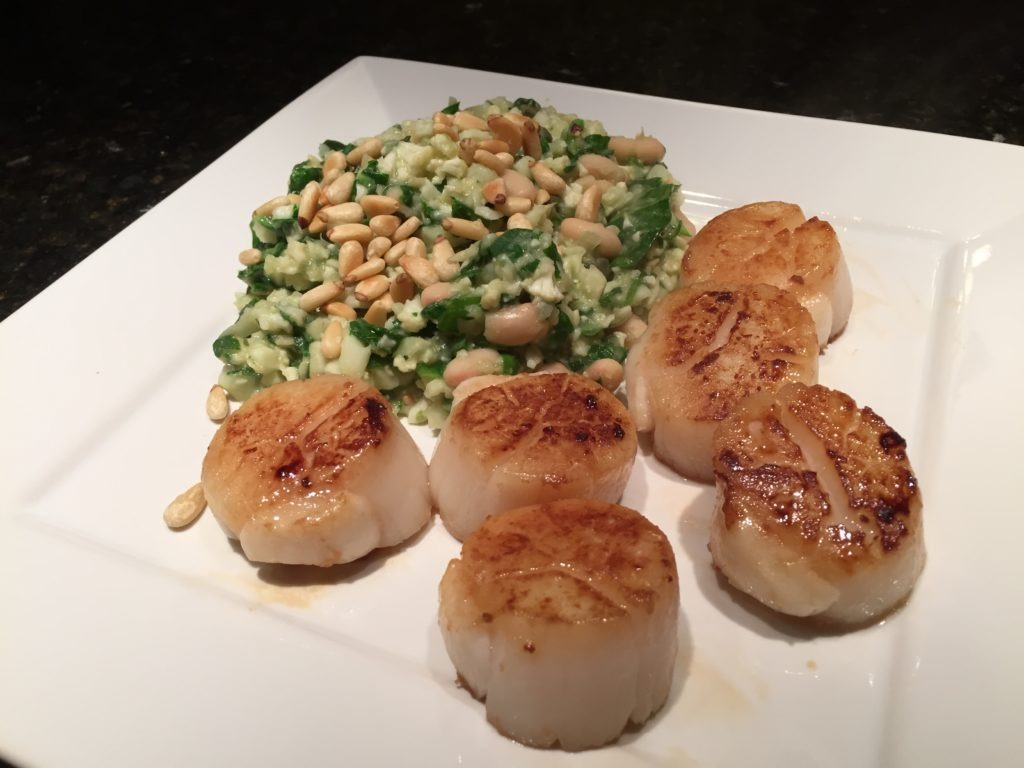 Pan Seared Scallops with Cauliflower Risotto