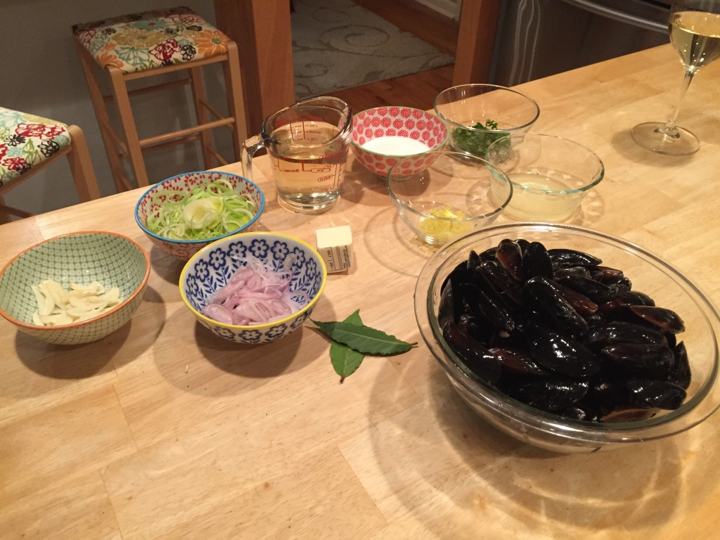 Prepping for the Moules Marinières