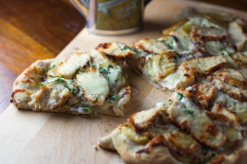 Big Green Egg Chicken Potato White Pizza